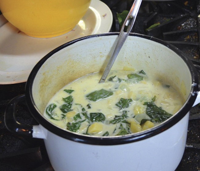 Holiday Recipes: Parsnip Soup with Sweet Potato Leaves