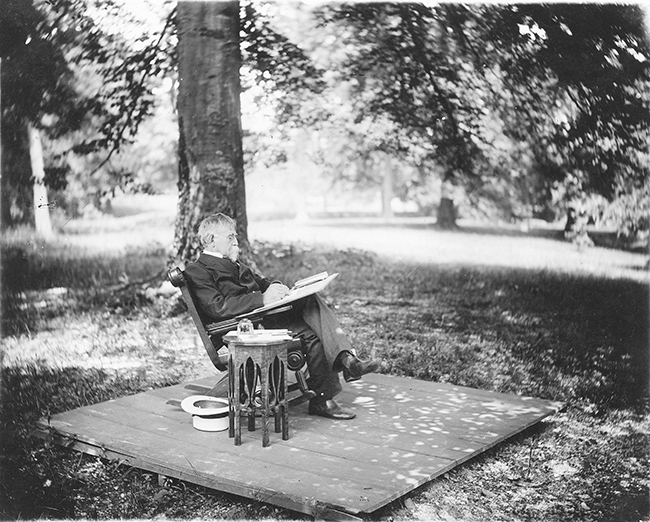 Wallace seated using a lap desk. Among his many noteworthy acts, Wallace signed the death warrant for Billy the kid. Photo Courtesy Indiana Historical Society