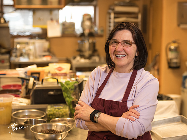 Jan Bulla-Baker at the Bloomington Cooking School. Photo by John Bailey