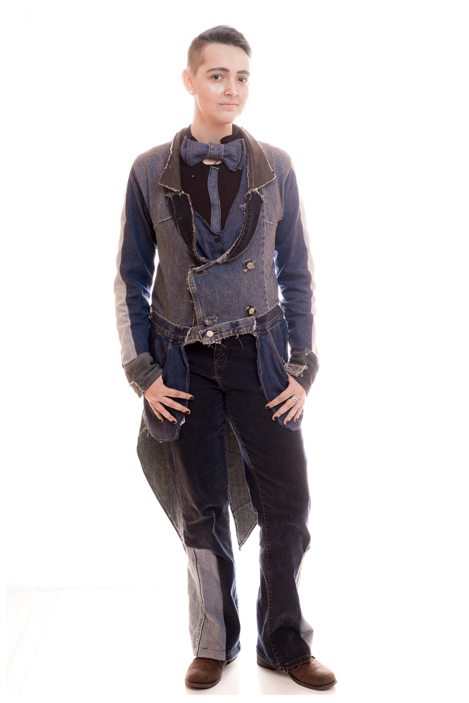 """Saturday Tuxedo"" created and modeled by Mora MacLaughlin for ReFashion. Casual weekend tuxedo tailcoat made from multiple pairs of recycles denim jeans."
