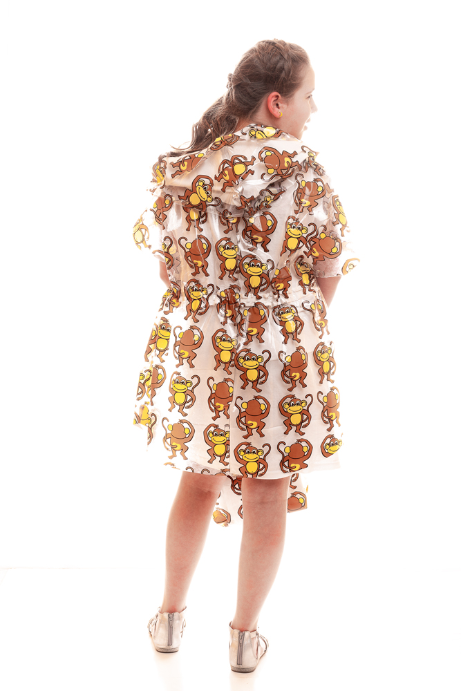 """Go Bananas"" created and modeled by Leia Frye for Trashion. Monkey-print shower curtain dress with t-shirt hood and lining, and matching purse."