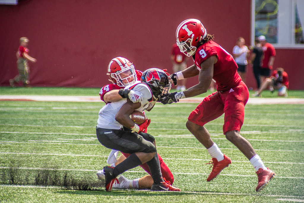 IU safety Jonathan Crawford (9) and linebacker Thomas Allen (44). Photo by Rodney Margison
