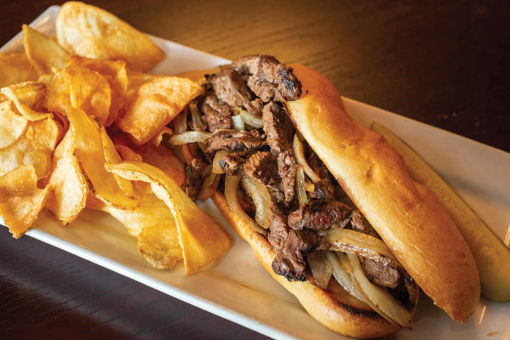 Marinated steak sandwich with potato chips. Photos by Rodney Margison