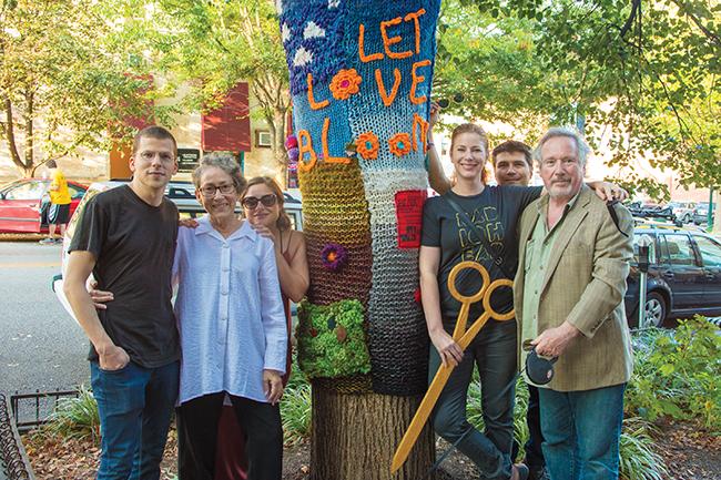 (l-r) Jesse Eisenberg, Toby Strout, Anna Strout, Diane Neal, JB Benn, and Malcolm Abrams. Photo by James Kellar