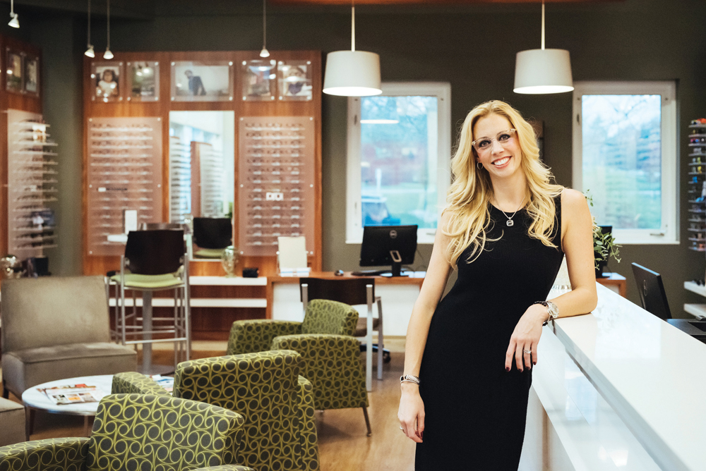 Dr. Brandy Deckard in her re-designed optical showroom. Photo by Jeff Richardson
